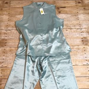 New! Satin Asian Inspired Pajamas Mint Green Large